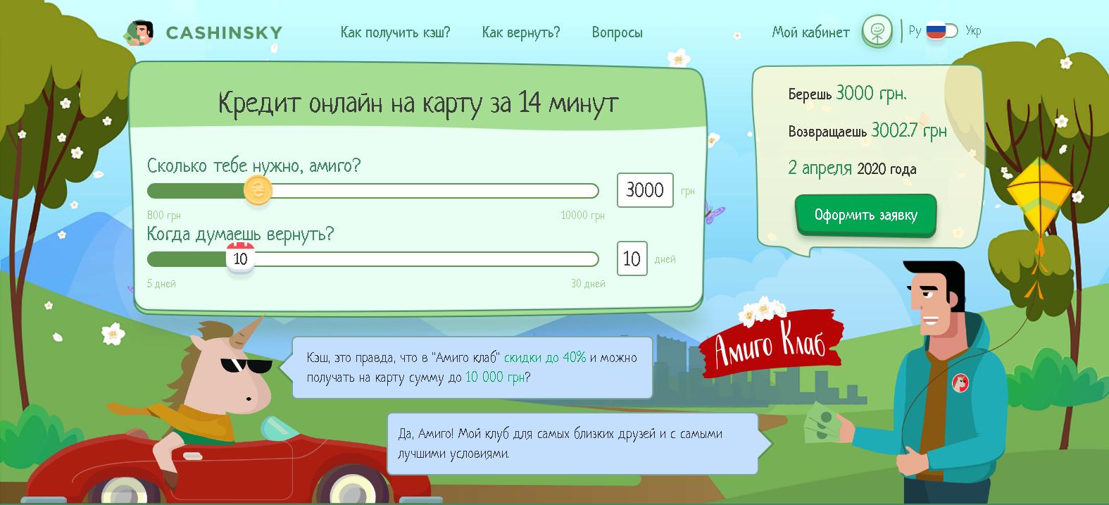 Оформить онлайн кредит в Cashinsky
